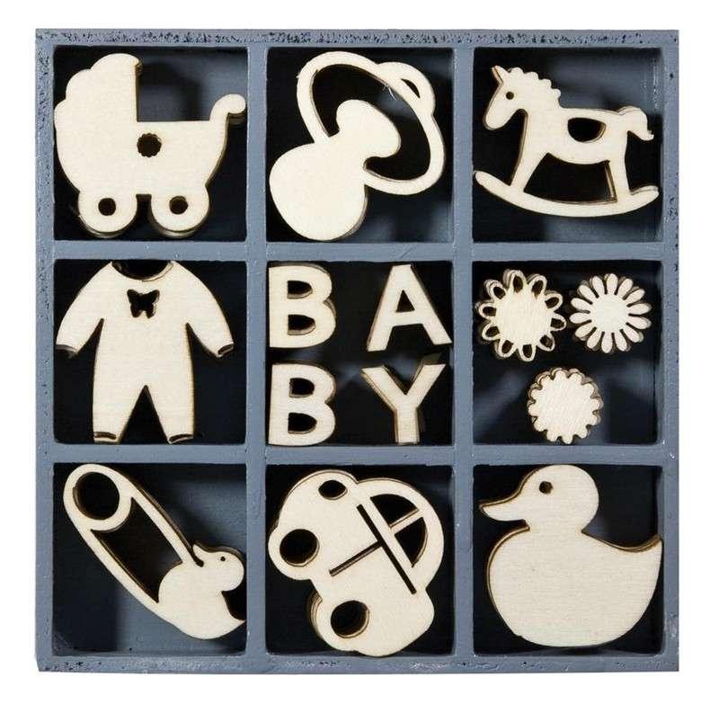 Mix dřevěných dekorací - BABY 45 ks ostatní