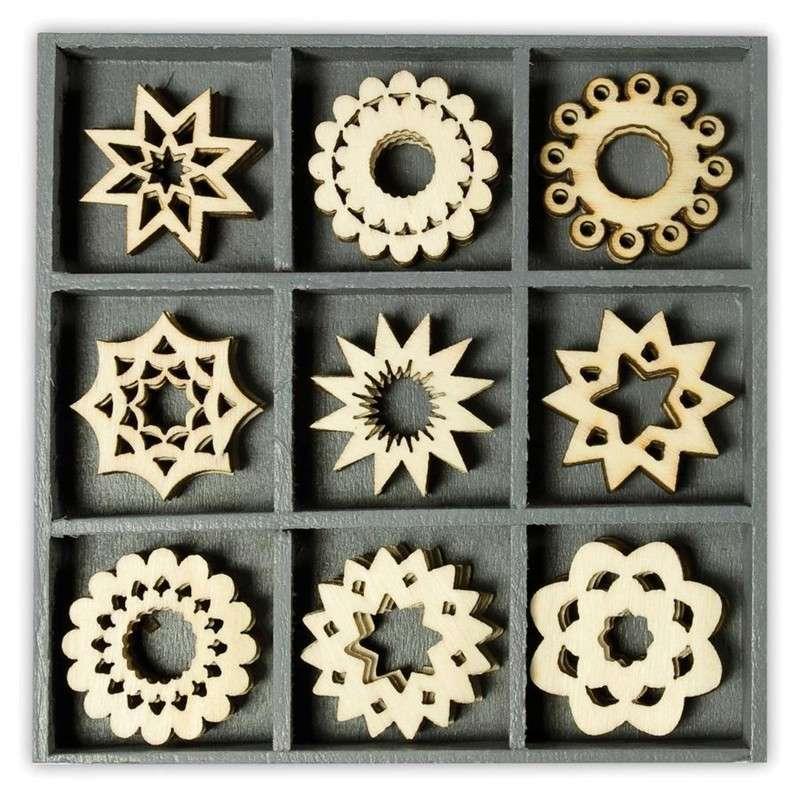 Mix dřevěných dekorací - KVĚTINY 45 ks
