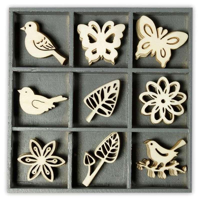 Mix dřevěných dekorací - KVĚTINY, MOTÝLCI A PTÁČCI 45 ks ostatní