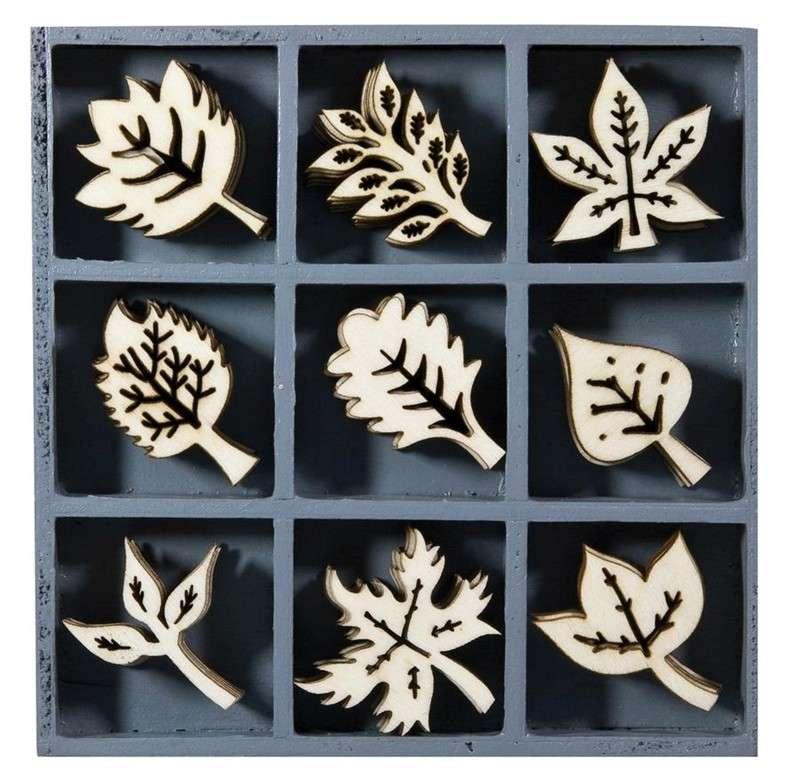 Mix dřevěných dekorací - LISTY 45 ks ostatní