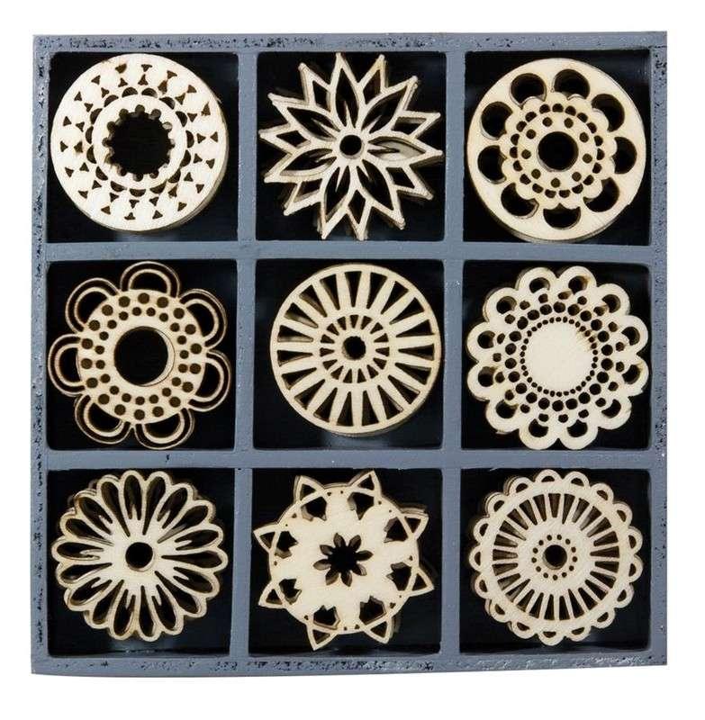 Mix dřevěných dekorací - ORNAMENTY KRUHY 45 ks ostatní