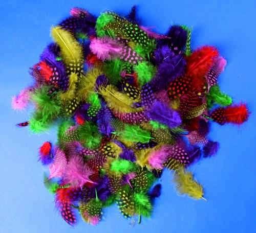 Peří měkké barevné kropenaté 100ks SMTCreatoys