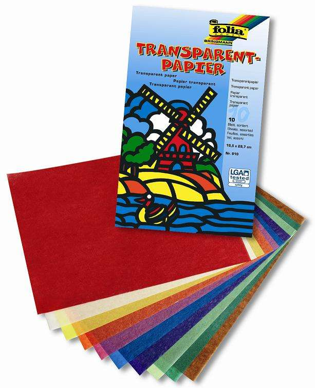 Transparent papír - 10 listů v 10 barvách - 42 g/m2 - 18,5 x 29,7 cm Folia