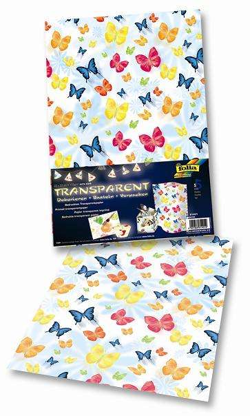 Transparent papír 115 g/m2 23 x 33 cm 5 listů - motýl Folia
