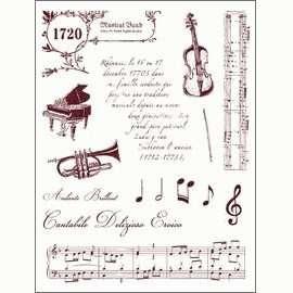 Gelová razítka - Housle,klavír,noty,trubka,texty 14x18cm
