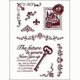 Gelová razítka - Klíč,poštovní známka,girlandy.. 10 x 15 cm
