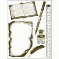 Gelová razítka - Kniha,pravítko,psací pero... 15x20cm