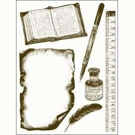 Gelová razítka - Kniha,pravítko,psací pero... 15x20cm ostatní