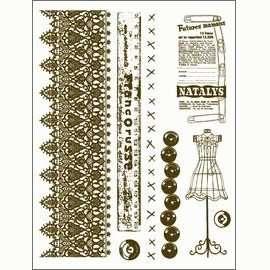 Gelová razítka - Krajka,metr,knoflíky... 15x20cm ostatní