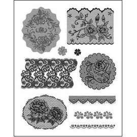 Gelová razítka - Krajky s růžičkami a srdíčky 14x18cm ostatní