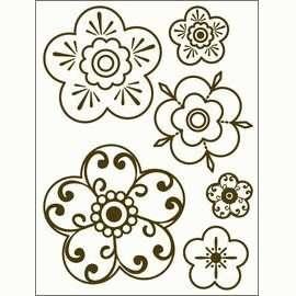 Gelová razítka - Obrysové kytky 15x20cm ostatní