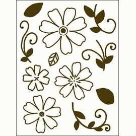 Gelová razítka - Obrysové kytky se stonky a lístky 15x20cm