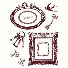 Gelová razítka - Rámečky,klíče,ptáčci 14x18cm ostatní