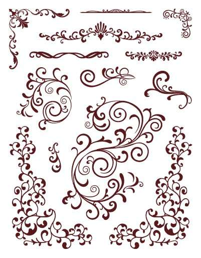 Gelová razítka - sada Bordury a ornamenty ostatní