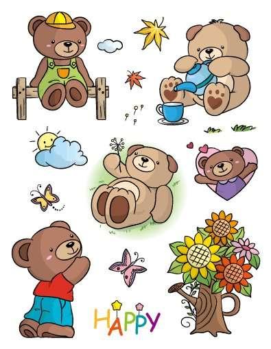 Gelová razítka - sada Medvídci s kyticí ostatní