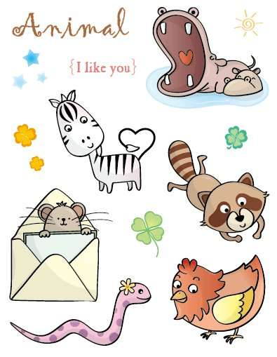"""Gelová razítka - sada Zvířátka """"Animal I like you"""" 15x20cm ostatní"""
