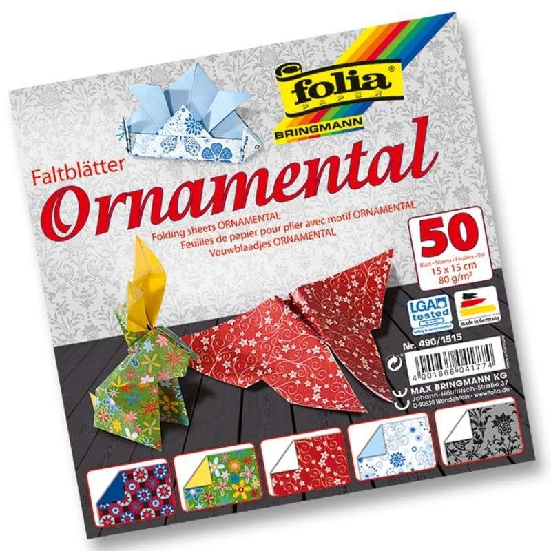 Papíry na skládání Origami - ornamenty 50 listů 15x15 cm, 80g Folia