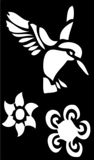 Samolepicí flexi mini šablona kolibřík 7x10 cm ostatní