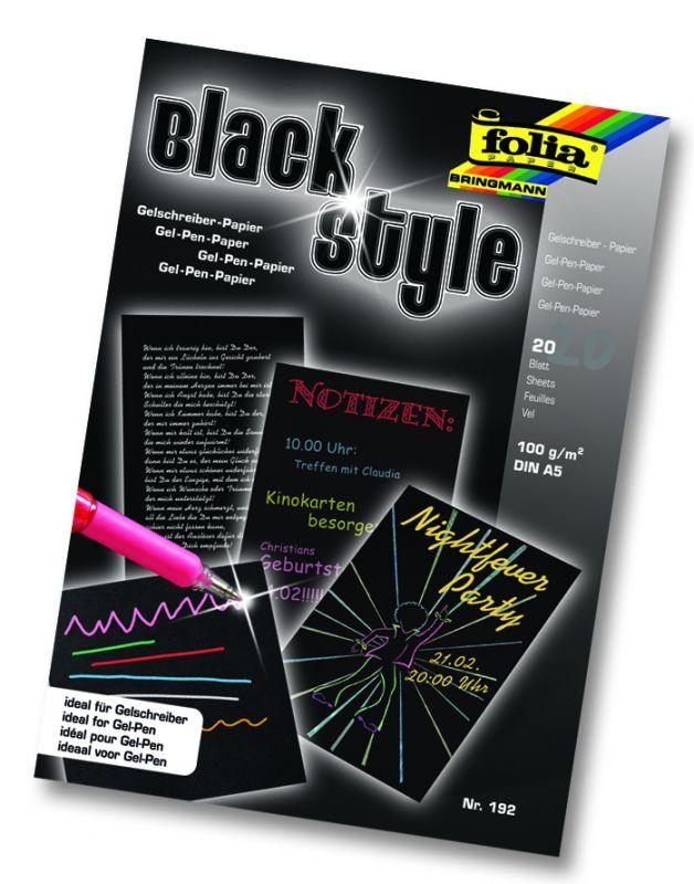 Blok černý A5 určený pro gelové tužky 20 listů Folia
