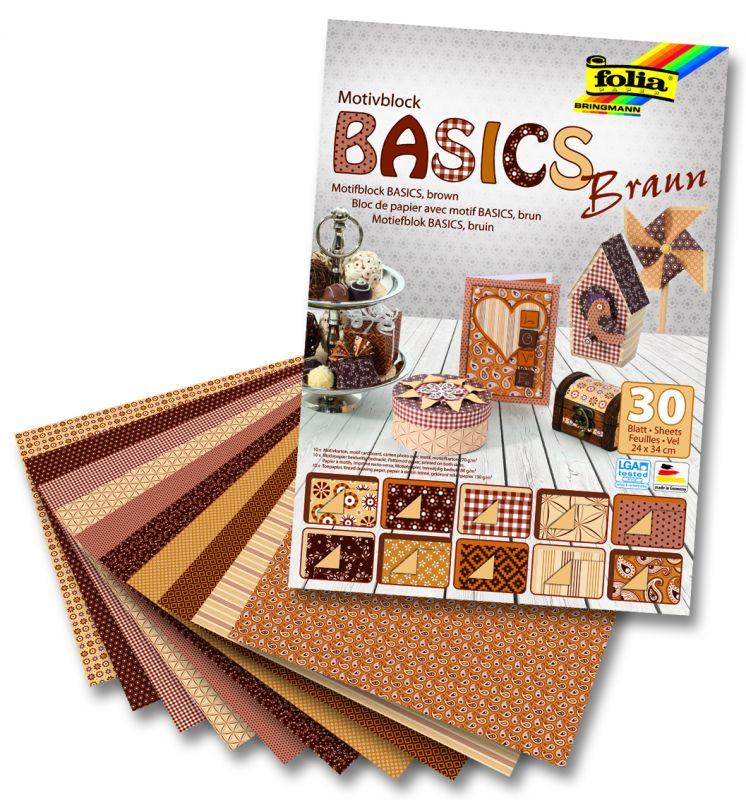 Blok s motivem Basics hnědá 30 archů formátu 24x34 cm Folia