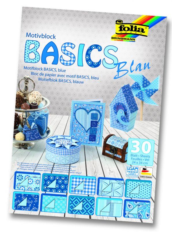Blok s motivem Basics modrá 30 archů formátu 24x34 cm Folia