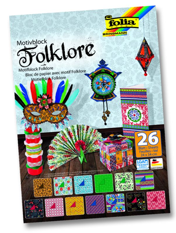 Blok s motivem folklór 26 archů formátu 24x34 cm Folia