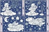 Okenní fólie bílá andílci na mráčku se stříbrnými glitry 30x20cm