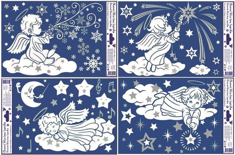 Folie okenní adhézní andílci se stříbrnými glitry Andel