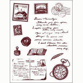 Gelová razítka - sada Cestování - kompas,pohlednice,poštovní známka, ...