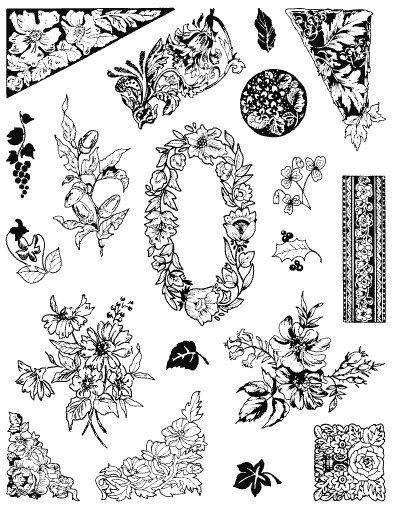 Gelová razítka - sada Květiny - bordury 14x18cm ostatní