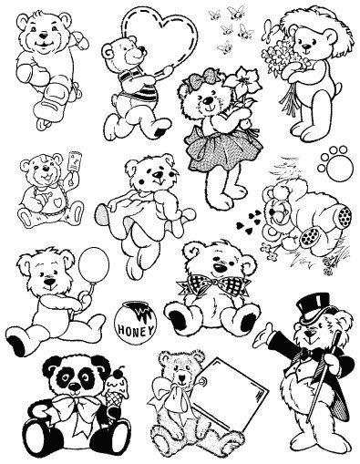 Gelová razítka - sada Medvídek s bruslemi ostatní