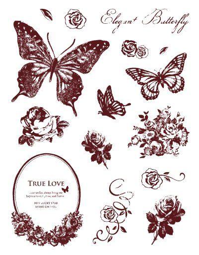 Gelová razítka - sada Motýlci a ornamenty 14x18cm ostatní