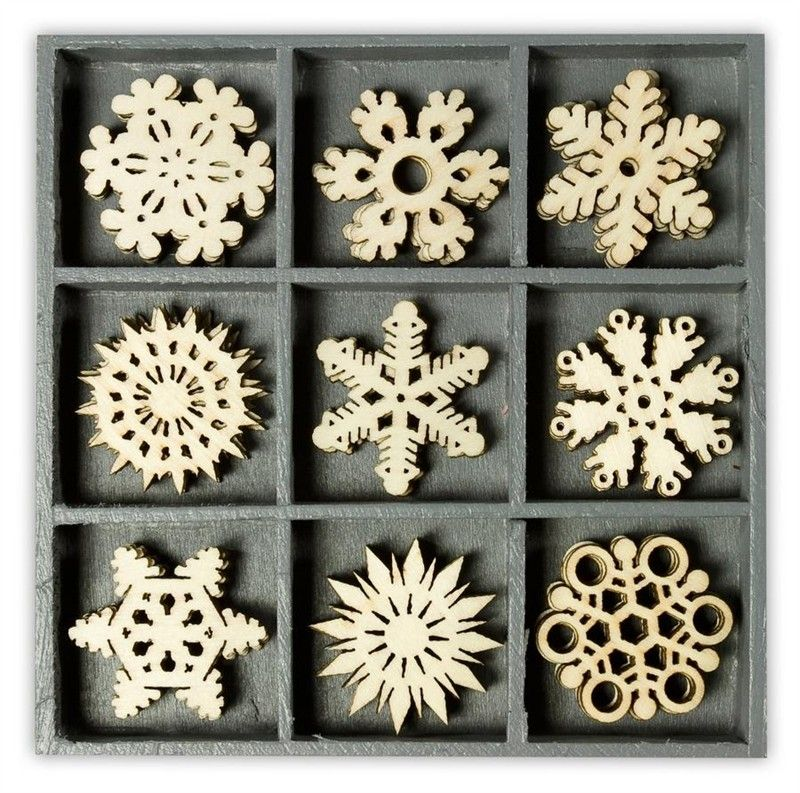 Mix dřevěných dekorací - SNĚHOVÉ VLOČKY 45 ks