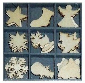 Mix dřevěných dekorací - VÁNOČNÍ OZDOBY 45 ks