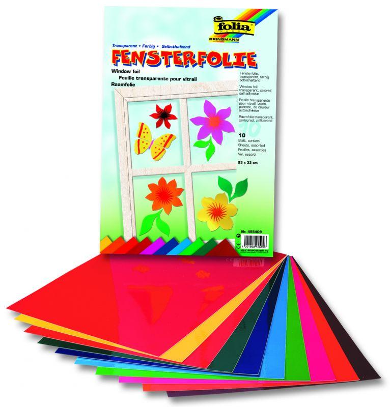 Okenní folie - elektrostatická - 23 x 33 cm, 10 listů v 10ti barvách Folia