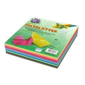 Papíry na skládání Origami 500 listů, 20x20 cm v 10-ti barvách, 70g - mix barev Folia