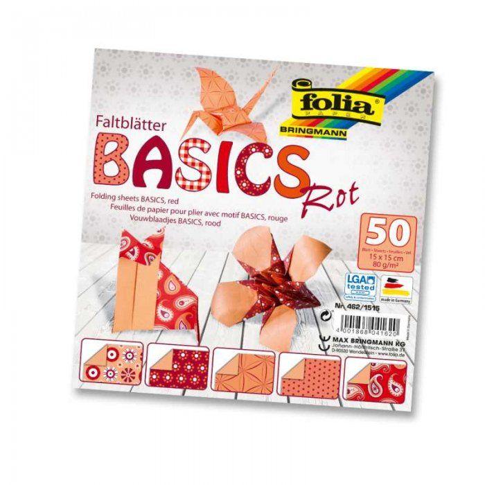 Papíry na skládání Origami - červené 50 listů 15x15 cm, 80g Folia
