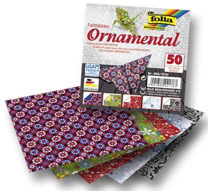 Papíry na skládání Origami - ornamenty 50 listů 10x10 cm, 80g Folia