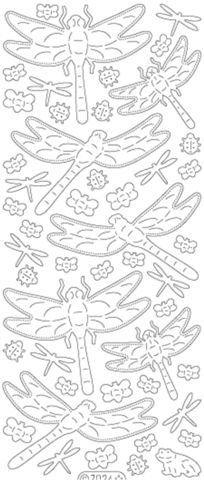 Průhledné třpytivé samolepky se zlatým obrysem - vážky ostatní