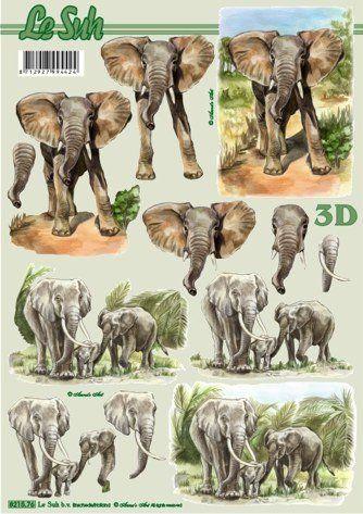 Sloni 3D papír Le Suh