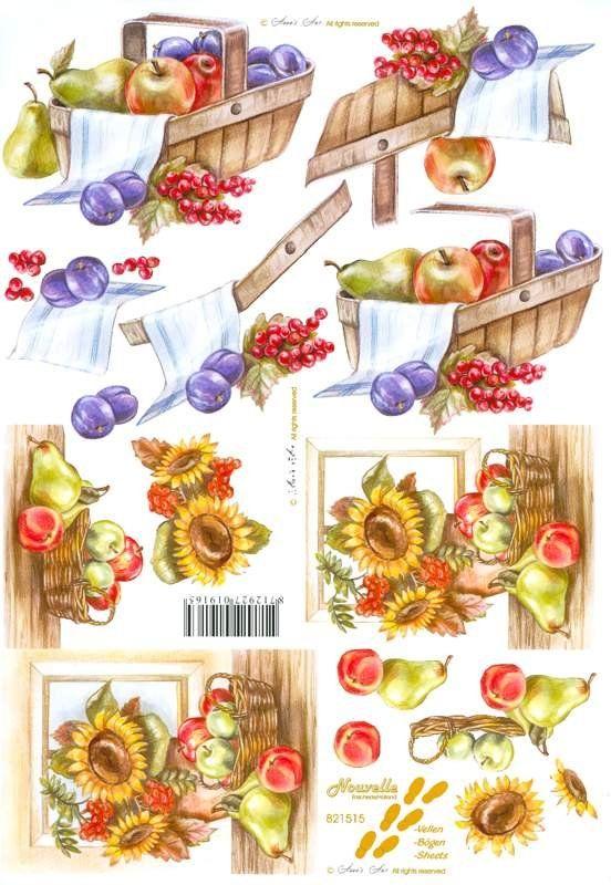 Slunečnice a ovoce - 3D papír Le Suh
