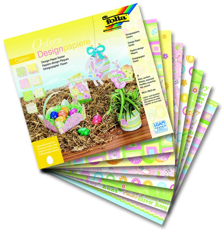 Designové papíry 30,5x30,5 cm 7 listů v 7 velikonočních motivech Folia