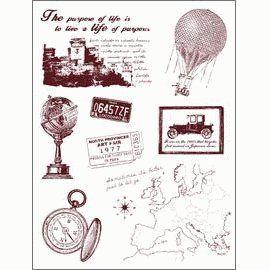 Gelová razítka - sada Cestování - mapa, balón, globus ... 14x18cm ostatní