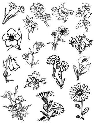Gelová razítka - sada Květiny ostatní