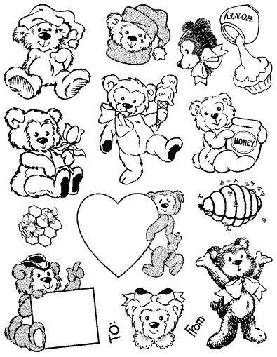 Gelová razítka - sada Medvídci - čepice ostatní