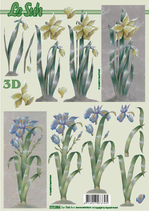 Květina žlutá a modrá - 3D papír Le Suh