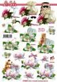 Květiny s dortem - 3D papír