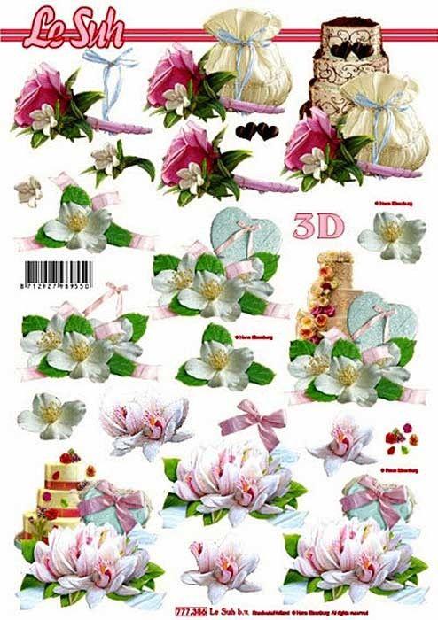 Květiny s dortem - 3D papír Le Suh