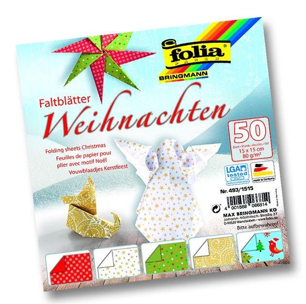 Papíry na skládání Origami - motiv Vánoce 50 listů 15x15 cm 80g Folia