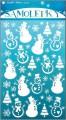 Samolepky sněhuláci bílé s nafouklým efektem s jemnými glitry 25x14cm